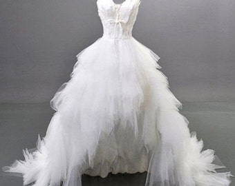 SALE...Custom Romantic Ballerina Swan Sweetheart Feather Bodice Tulle Hi-Lo Ruffle Wedding Dress