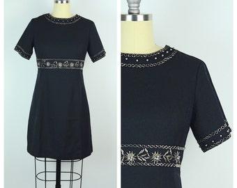 SALE Vintage 1960s Dress / Black Jeweled 60s Mini Dress / Small