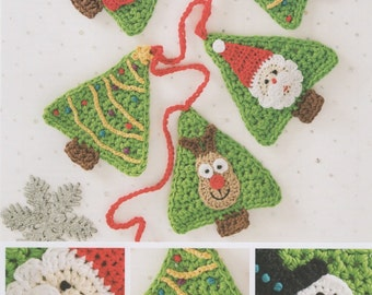 DMC (15323L/2) Festive Bunting Crochet Pattern - Pattern for Tree Bunting with Snowman, Santa and Reindeer