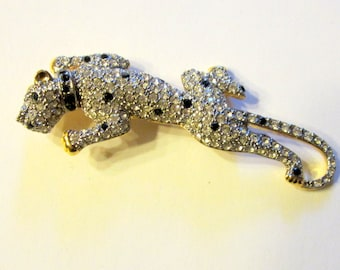 """Dramatic Leopard Brooch with Pave Set Rhinestones by """"Carolee"""""""