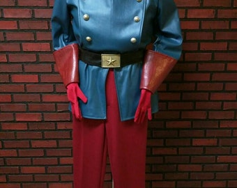 Classic Bucky Barnes custom made costume, faux leather coat and ponte pants, cosplay costume with gloves and belt.