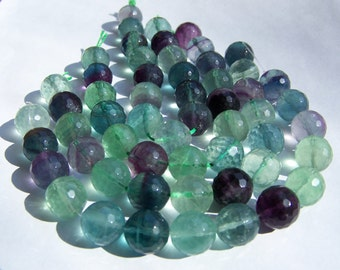 Micro Faceted Rainbow Flourite beads 13mm 14 pieces half strand
