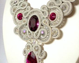 Soutache necklace Wedding Soutache jewelry Bridal necklace Bride necklace white necklace Soutache jewelry Swarovski crystals fuchsia