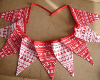 Scandinavian fabric christmas bunting
