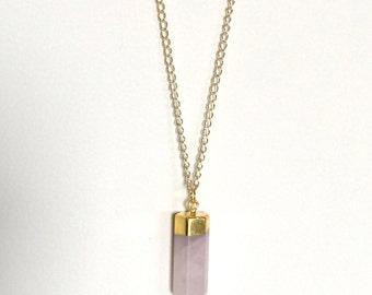 Long rose quartz bullet pendant necklace, necklace with rose quartz gem stone, necklace with pink bullet pendant