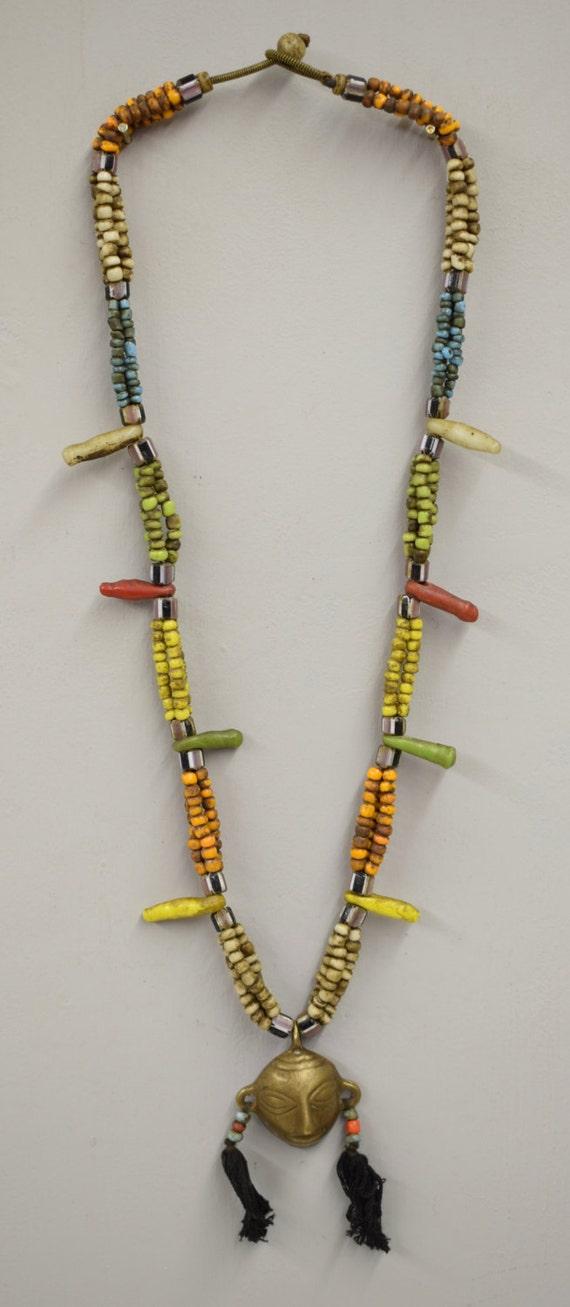 Naga Necklace Brass Head Pendant India Handmade Orange Blue Green Yellow Beads Chevron Glass Beads Trophy Naga Brass Head Necklace
