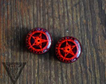 "Pair gauges Red pentacle image ear wood plugs 4,5,6,8,10,12,14,16,18,20,22,25-60mm;6g,4g2g,0g,00g;1/4,5/16,3/8,1/2,9/16,5/8,3/4,7/8,1 1/4,1"""
