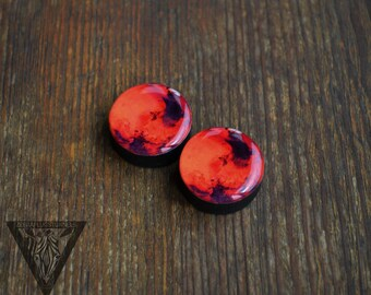 "Pair gauges Mars image wooden ear plugs 4,5,6,8,10,11,12,14,16,18,20,25-60mm;6,4,2g,0g,00g;1/4,5/16,3/8,1/2,9/16,5/8,3/4,7/8,1 1/4"" all size"