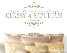 A girl should be CLASSY and FABULOUS Coco Chanel Quote Wall Decal