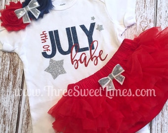 4th of July Outfit Baby Girl | Tutu Bloomers | Opt Headband & Ruffle Bloomer Set | First Fourth 1st | Independence Day