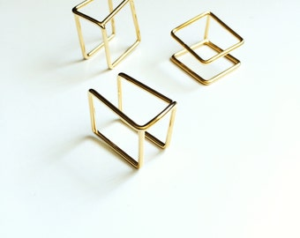 SunJewel gold geometric double square ring jewelry gift
