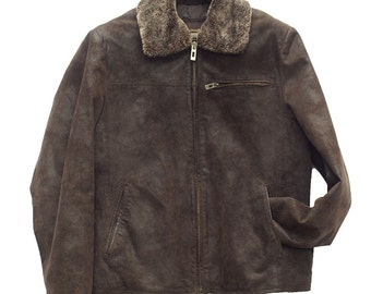 men's clothing brown leather jacket Mac Douglas vintage