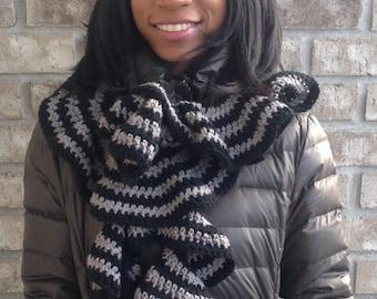 Women's Teens Crocheted Ruffle Striped Scarf