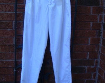 Men's WHITE COTTON PLEATED Pants 1980's Old Stock Never Worn. Sz. 32 Very light weight  Front slash pockets, two buttoned at back. Beach...