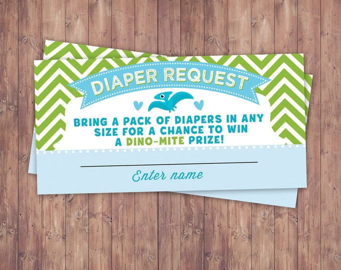Diaper request,Dinosaur, baby shower, invitation, dino baby, chevron pattern, hatching, party decor, baby dinosaur, coed baby shower, game