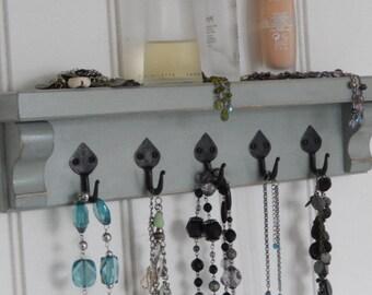 Jewellery Organiser, Jewellery Display, Necklace Hanger, Jewellery Rack, Key Shelf, Shelf with Hooks, Gift, Anniversary Gift, Wedding Gift,