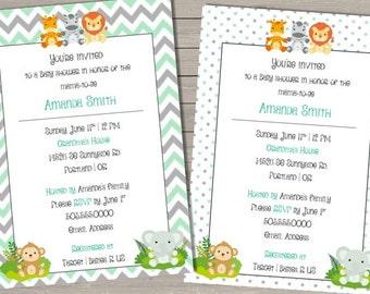 Chevron Jungle Animal Baby Shower Invitation -Printable File