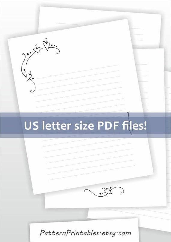 Printable writing paper Lined paper Digital stationery Elegant – Lined Letter Paper