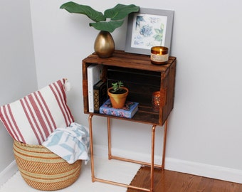 Rustic Modern Wood Crate & Copper Side Table