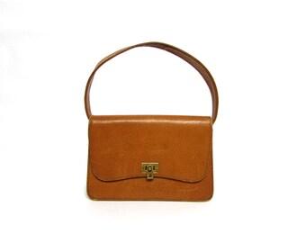 Vintage 60's Camel Brown  Leather Small  Bag Handbag Purse