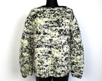 Vintage 90's Black White Speckled Handknit Sweater Thick Warm Sweater Slouchy Oversized