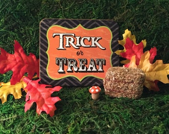 Halloween Fairy Garden Fall Miniature Accessory Set, Hay Bale, Leaves, Orange Mushroom, Sign