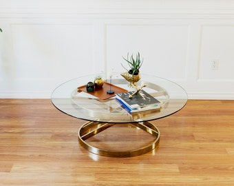 RESERVED Vintage Brass Coffee Table Milo Baughman style