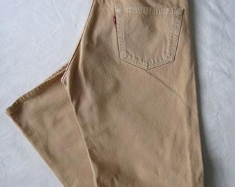 Mens Levis 501 beige denim straight leg pants trousers jeans Waist 33 Leg 30 31