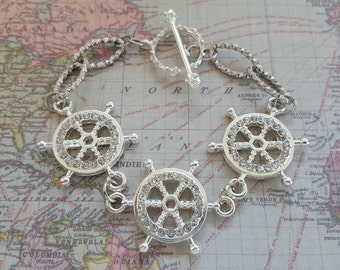 Three Rhinestone Tillers Nautical Bracelet of Shiny Silver Metal + Shiny Chain Links & Toggle Clasp. Ready for Sailing, Cruising, or Beach!