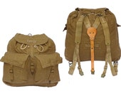 195060s Vintage Army Canvas Backpack With Leather  Canvas Harness Khaki Rucksack Hiking Retro