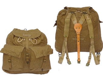 1950/60s Vintage Army Canvas Backpack With Leather & Canvas Harness Khaki Rucksack Hiking Retro