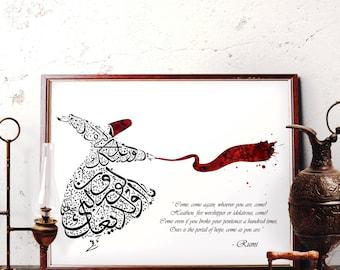 Traditional Ottoman Tulip Design Art Original Watercolor