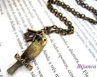 Bird necklace - Bird brass necklace - Big bird necklace -Bird jewelry n452