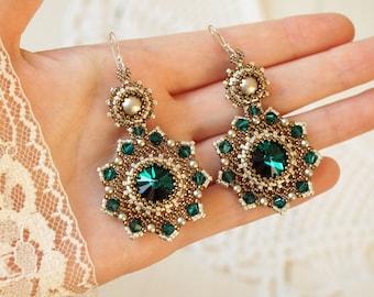"Beaded earrings ""Emerald"" with swarovski crystals and pearl beadwork earrings beadwoven earrings bead weaving earrings bead woven earrings"