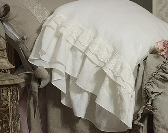 """Linen pillowcase 'Grace' with extra long ruffles and cotton lace. Pure prewashed white linen bedding, 20x24"""" 20x26"""" 26x26"""" 20x30"""" 20x36"""""""