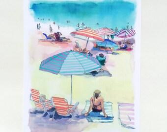 Laguna Umbrellas Print. Beach scene painting, watercolor, beach house art, california, beach watercolor palm trees southern california