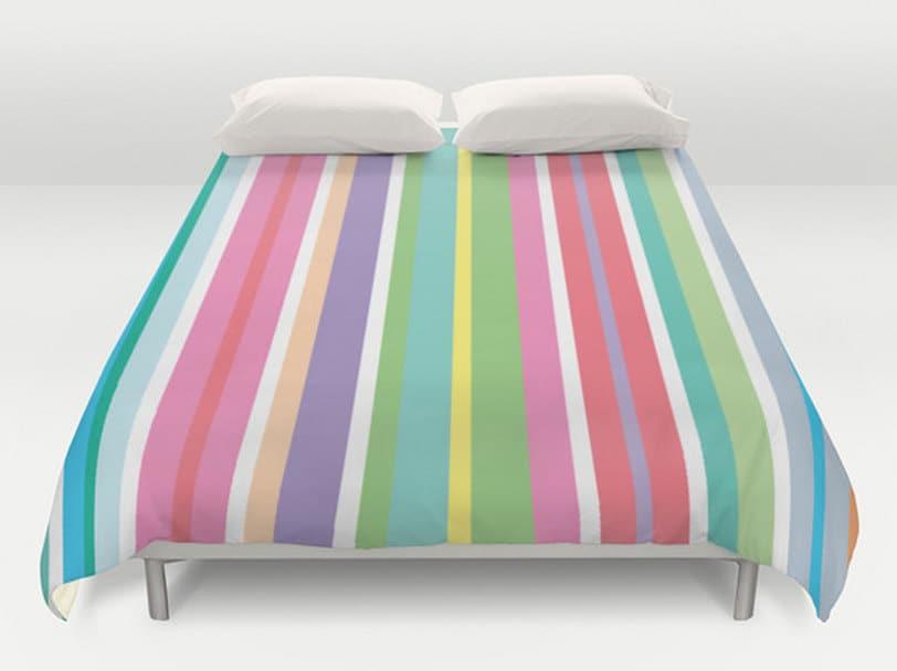 Stripes Duvet Cover Colorful Bedding Modern Bedspread King