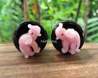 "Pink Elephants on Black Plugs Pyrex Glass 0g  00g 7/16"" 1/2"" 9/16"" 5/8"" 3/4"" - 1"" 8 mm 9.5 mm 10 mm 11 mm 12 mm 14 mm 16 mm 18 mm - 25 mm"