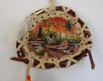 "Mandella Native Américan  ""Ojibway Canoe"" ref: M 150601"