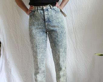 """Deadstock acid wash light denim high waist tapered jean, 27"""" - vintage 90's"""