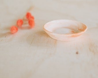 Peach marbled cement ring dish - wedding gift or bridesmaid gift