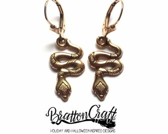 Gold Snake Earrings - Snake Earrings - Gold Reptile Earrings - Reptile Earrings - Snake Jewelry