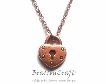 Antiqued Copper Heart Lock Necklace - Heart. Necklace - Copper Heart Lock Necklace - Heart Lock Charm Necklace - Epsteam
