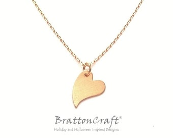 Matte Gold Heart Necklace - Gold Valentine Necklace - Heart Necklace - Heart Jewelry - Mother's Day Jewelry - Epsteam