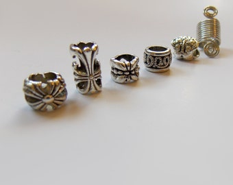 Sisterlocks jewelry, Charm Tibetan silver hair beads, Dread cuff coils beads, Dreadlocks jewelry, Metal beads, loc jewelry, Hair Accessories