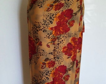 Animal print skirt, XS, S,  tropical sarong, floral wrap skirt,jungle print skirt, animal skirt, leopard skirt