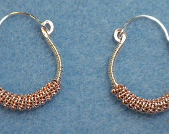 double copper coil copper and sterling silver earrings