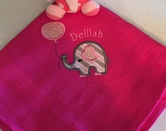 Elephant applique baby blanket
