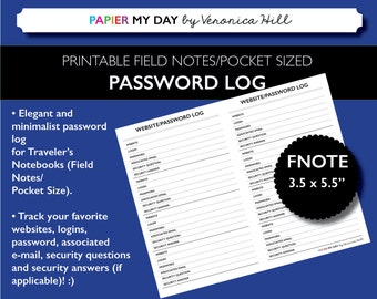 Printable Password Log and Password Tracker - Sized for Field Notes and Pocket Sized Travelers Notebooks