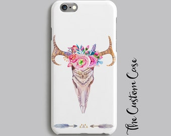 Boho Cow Skull Phone Case, Tribal Iphone Case, Bohemian Chic Flower Cow Skull Phone Case, Samsung phone Case, Iphone Cow Skull Case